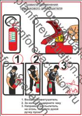 """Плакат для размещения в в местах установки огнетушителей """"Правила использования огнетушителей"""" размер А4 для печати на любых цветных принтерах."""